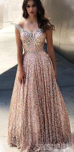 Chamring Sparkly Sequin Gorgeous A line Elegant Modest Prom Dresses, PD1307 #modestprom