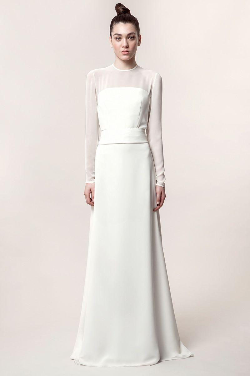 KATE: Vestido de novia de línea lánguida con cuerpo palabra de honor ...