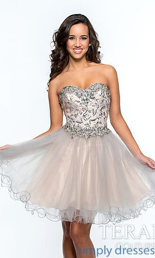 Strapless Sweetheart Prom Dress with Sequin Detailing by Terani at SimplyDresses.com