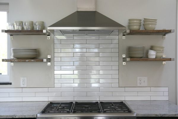 Backsplash   2x12 White Subway Tile With Gray Grout · Reclaimed Wood  ShelvesWooden ...