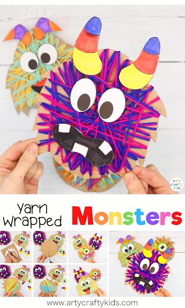 Yarn Wrapped Monster Craft for Kids
