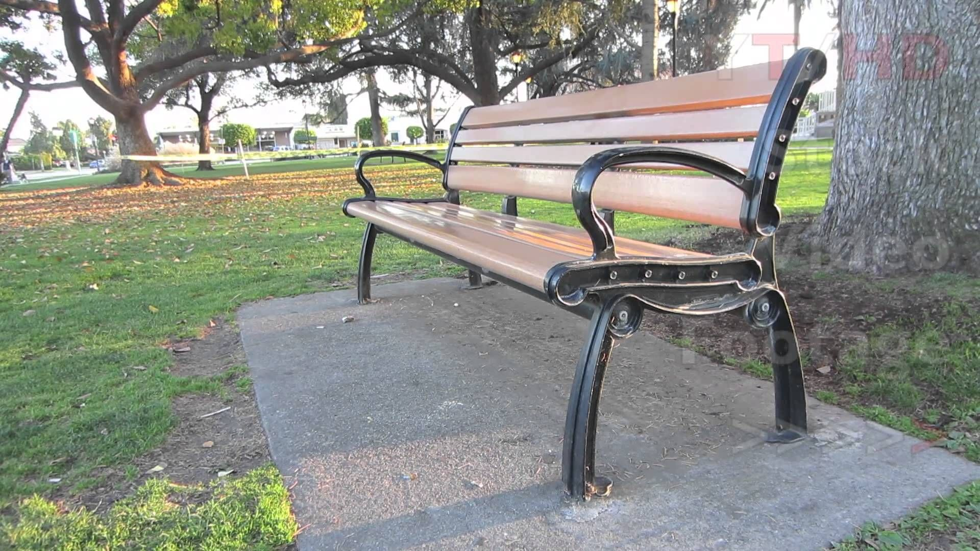 Tremendous Outdoor Public Wooden Park Bench W Metal Wrought Or Cast Caraccident5 Cool Chair Designs And Ideas Caraccident5Info