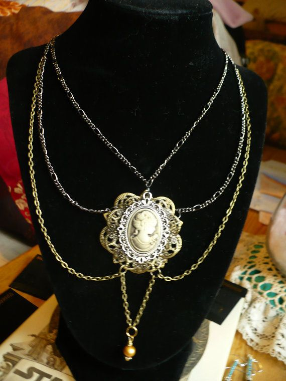 Draped Chain Cameo Necklace by KukoCreations on Etsy, $25.00