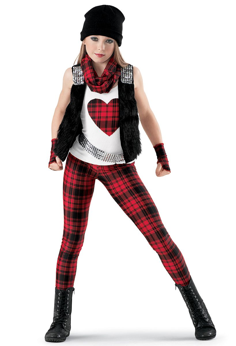 weissman™  plaid legging  top with fur vest  dance