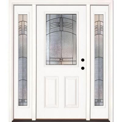 Feather River Doors 67 5 In X 81 625 In Rochester Patina 1 2 Lite Unfinished Smooth Left Hand Fiberglass Prehung Front Door With Sidelites 873190 3b4 The Ho Fiberglass Entry Doors Entry Doors Entry Door With Sidelights