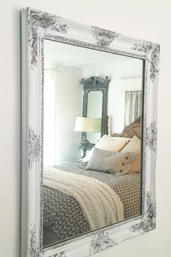 White Shabby Chic Distressed Framed Mirror   Shabby, Bedrooms and ...