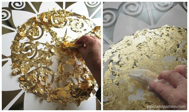 Gold leaf application for your Verre Eglomise project   Paint + Pattern
