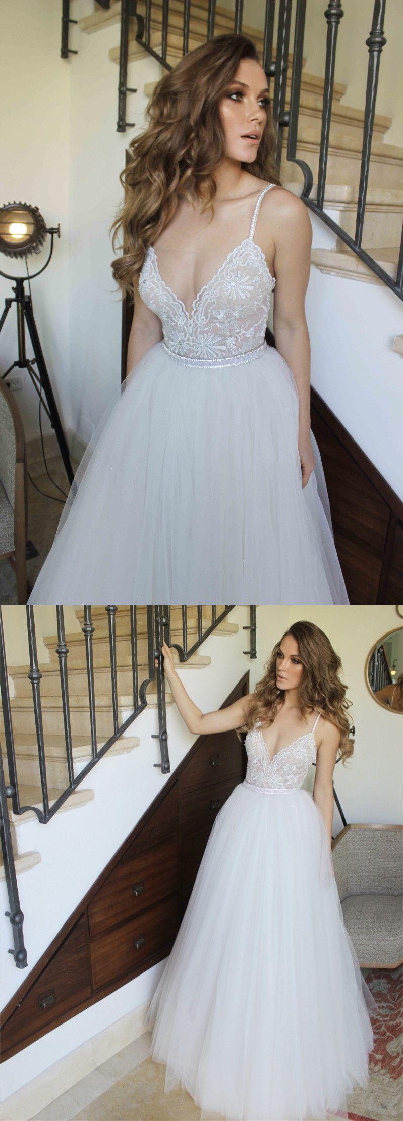 white long prom dress, 2018 prom dress, straps white long prom dress ...