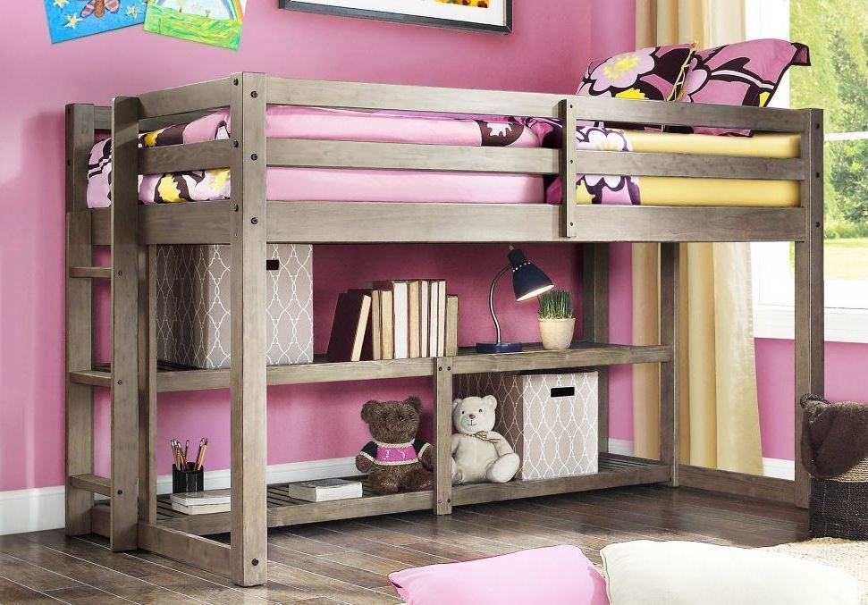 Loft Bunk Bed For One Child Storage Shelves Gray Solid Wood Twin Boy