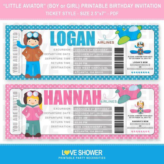 LIttle Aviator - Pilot Boy - Pilot Girl - Airplane Ticket Birthday - plane ticket invitation template