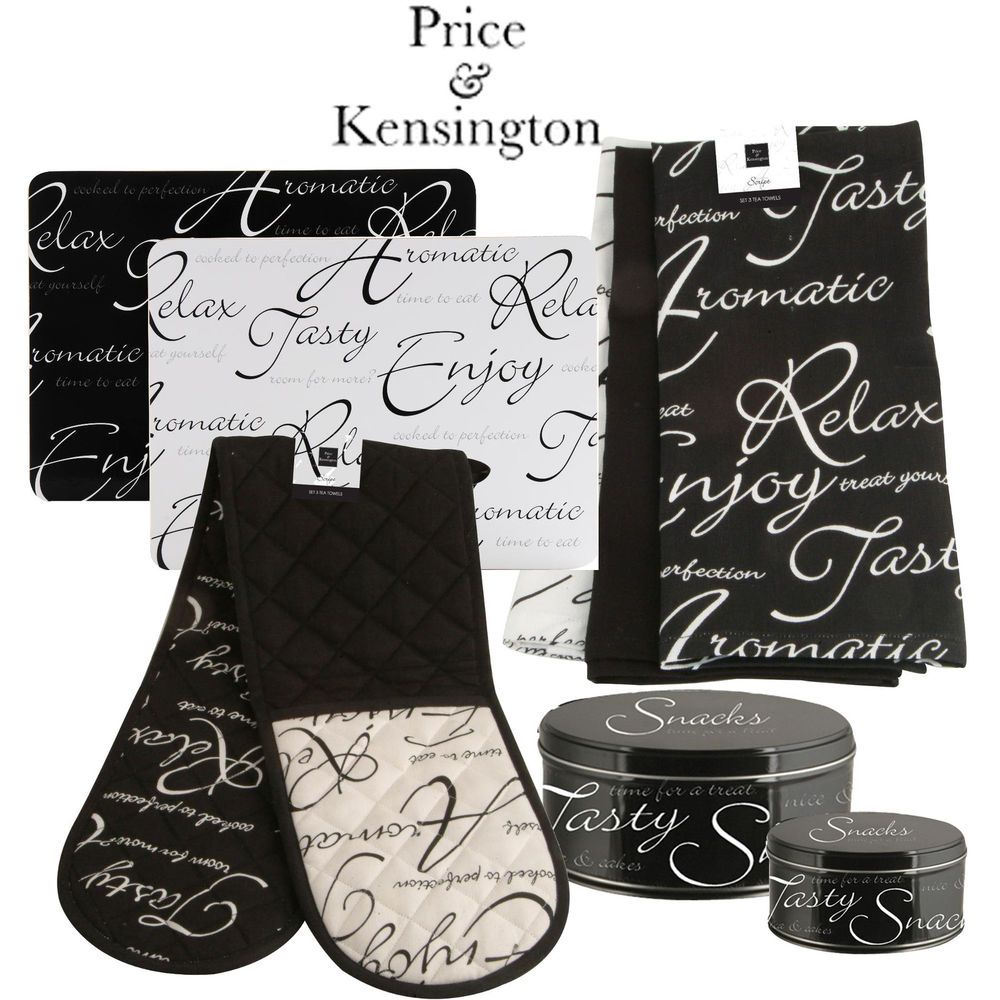 White apron price - Details About Price Kensington Script Black White Glove Placemat Apron Cake Tin Aprons Gloves And Tins
