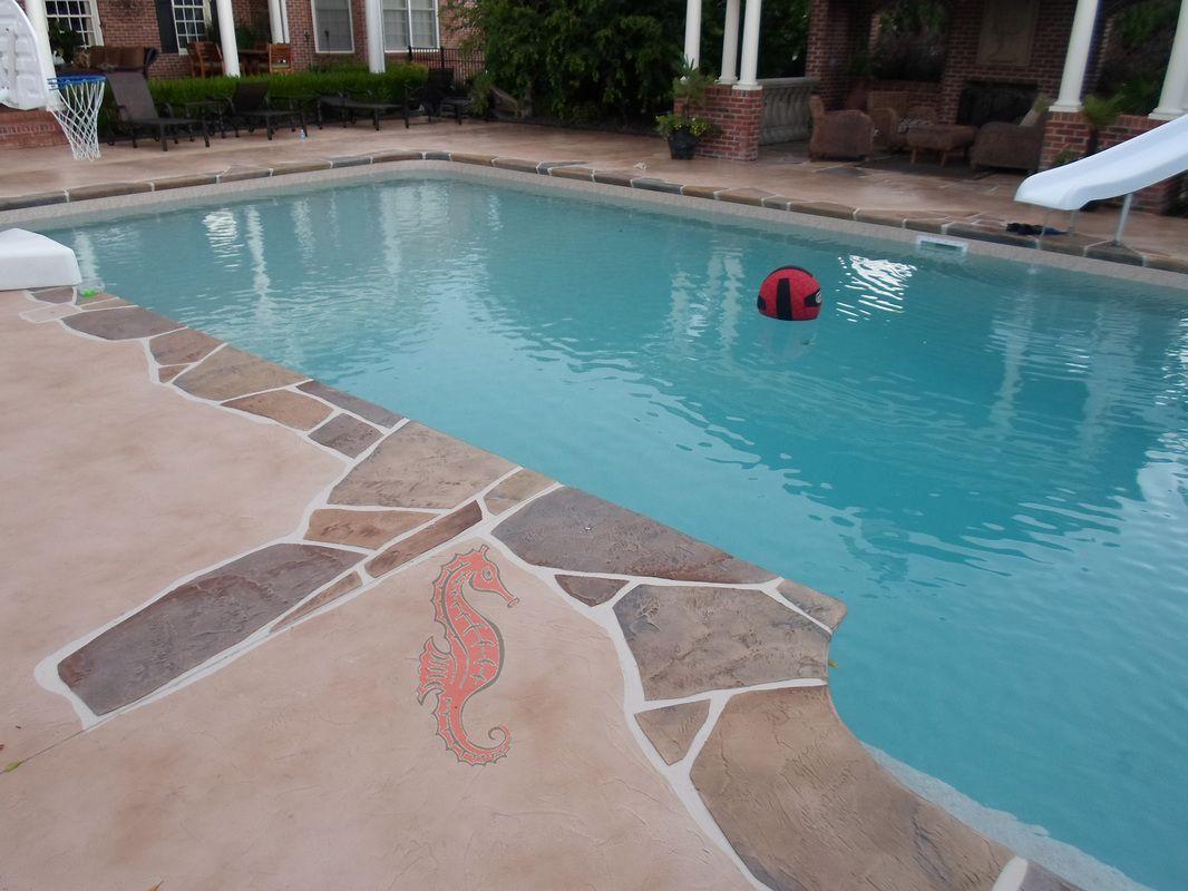 Decorative Concrete Pool Deck Overlay Spray Deck Design