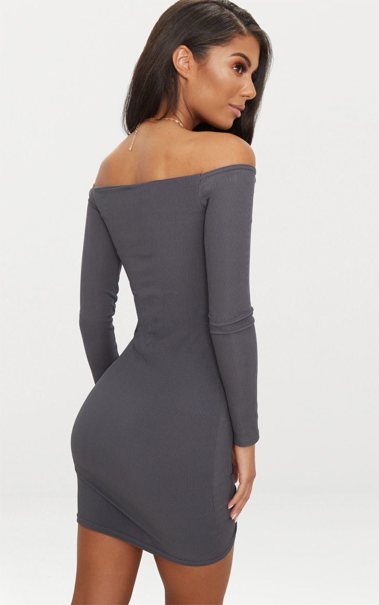 418c6fc9c9e60 Charcoal Grey Ribbed Long Sleeve Bardot Ruched Bodycon Dress |  PrettyLittleThing