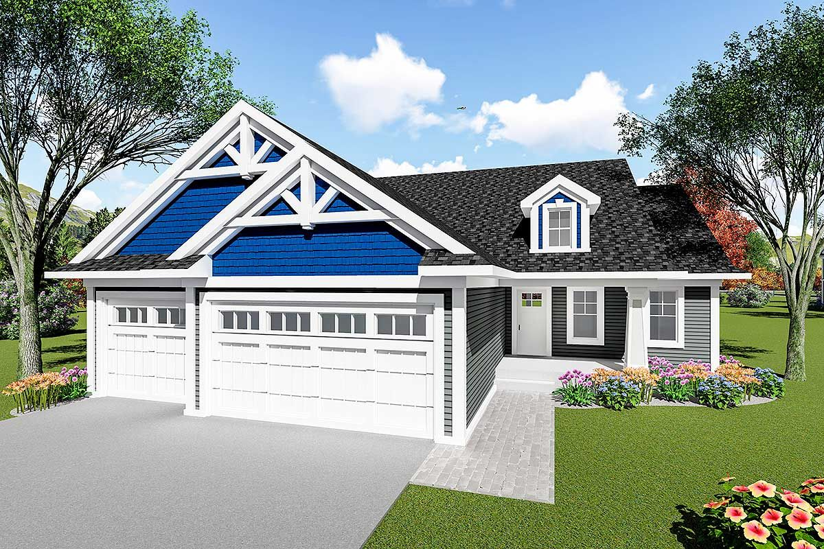 Craftsman In Style This Cute Ranch Home Is Affordable To Build But Still Has Plenty Of Charm An Open Craftsman House Plans Craftsman Ranch Ranch Style Homes