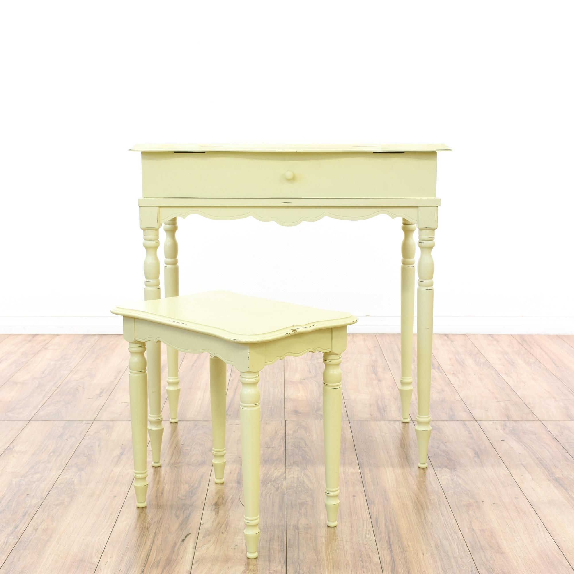 This writing desk and bench are featured in a solid wood with a