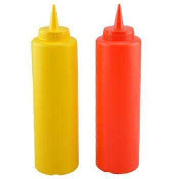 2-Pack 16oz KETCHUP & MUSTARD PLASTIC SQUEEZE CONDIMENT BOTTLE W/ LIDS for…