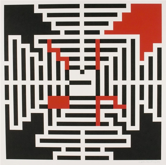 Verena Loewensberg, Geometric composition, 1982. Via wikipaintings.