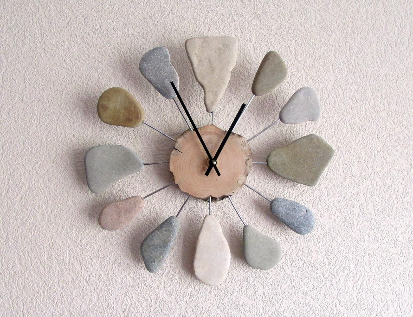 Coastal Design Clock 10 Rustic Natural Wood Stone Etsy Driftwood Diy Beach Theme Gifts Driftwood Art