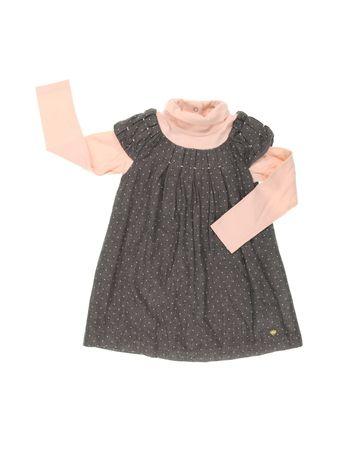 Vestido chicco vestido de poa cinza e rosa bebe infantil1
