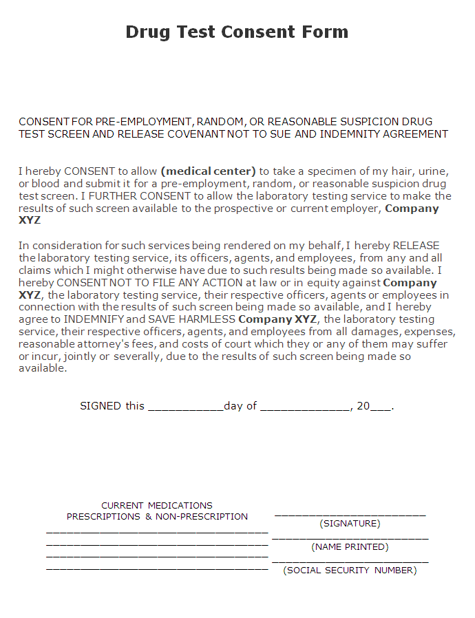 Drug Testing Form Template Invitation Templates drug test – Consent Form