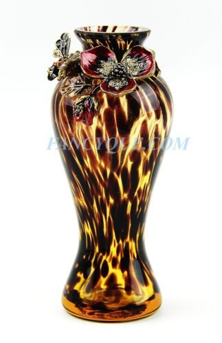 Jay Strongwater Deco Dogwood Crystal 5 12 Tall Vase With Bee