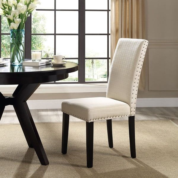 Upholstered High Back Dining Chair With Nailhead Trim