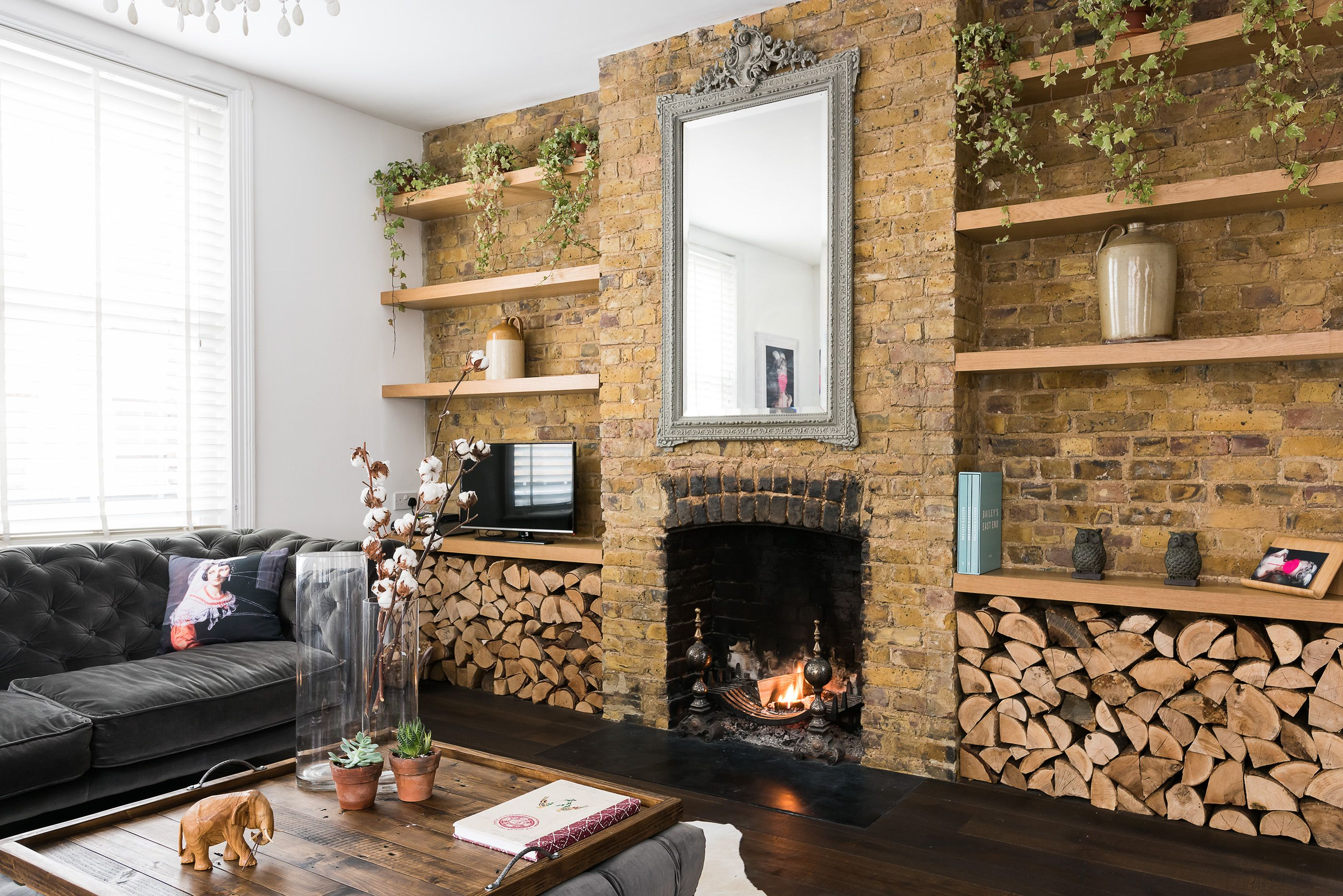 Exposed Brick Wall And Fireplace Brick Wall Living Room Exp