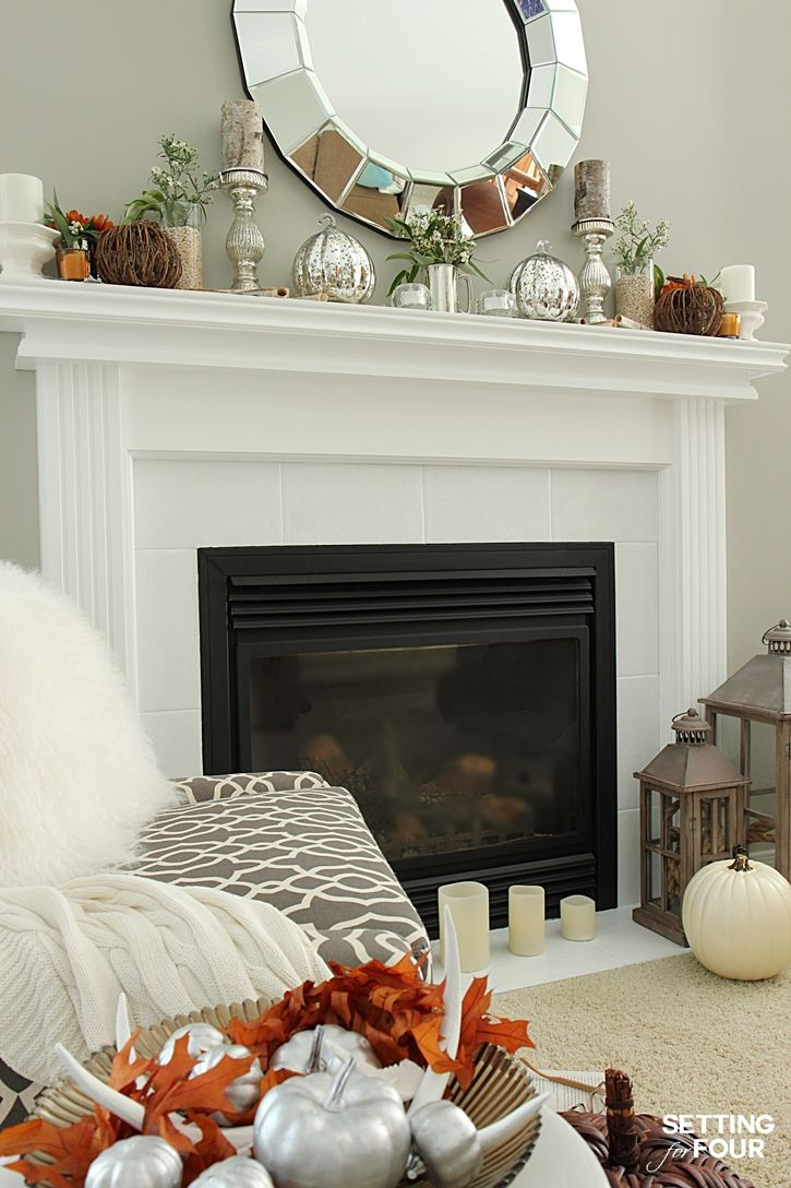 fall mantel decor using fall flowers and foliage fall. Black Bedroom Furniture Sets. Home Design Ideas