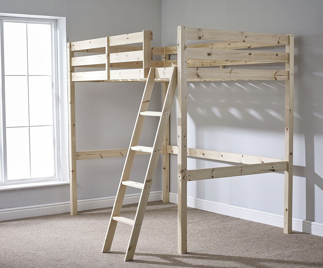 Loft bed with slide and desk  Celeste ft  Double HEAVY DUTY Solid Pine HIGH SLEEPER Bunk Bed