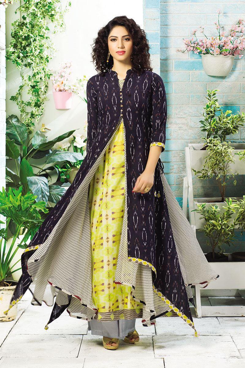 Upstyle multicolor multilayer long kurti suits pinterest kurti