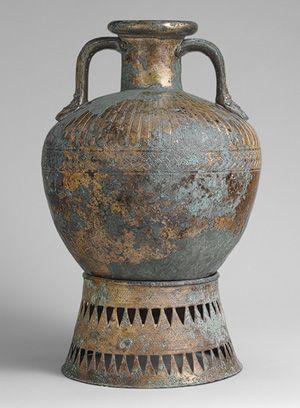 Bronze pointed neck-amphora with stand, ca. 500–450b.c.GreekBronze
