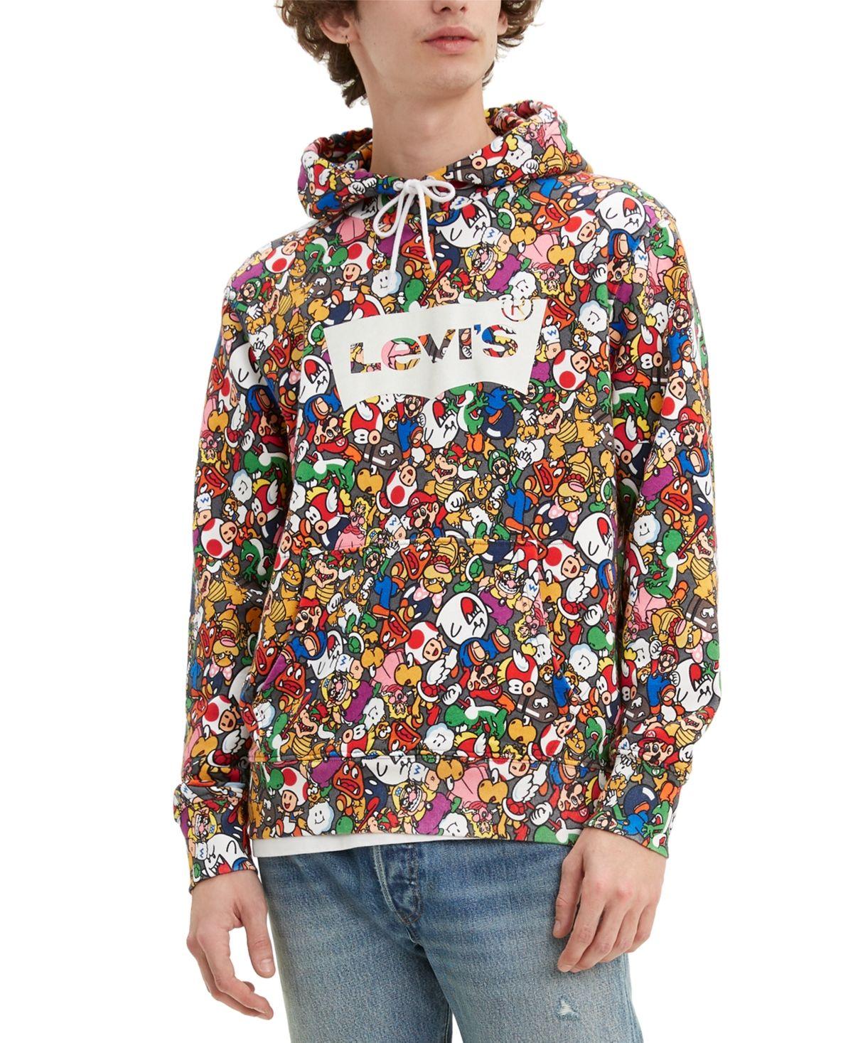 Levi S Men S Nintendo Super Mario Hoodie Power Up Aop Levi Super Mario Mens Sweatshirts [ 1467 x 1200 Pixel ]
