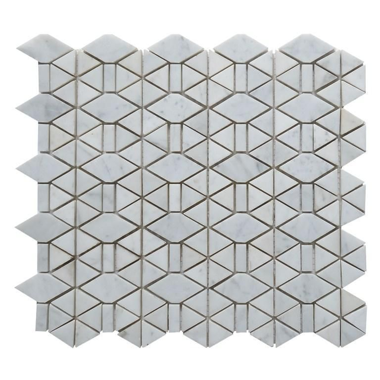 Carrara White Marble Mosaic Tile In Triangular Geometric Pattern Polished Or Honed In 2020 Marble Mosaic Mosaic Tiles White Marble Mosaic