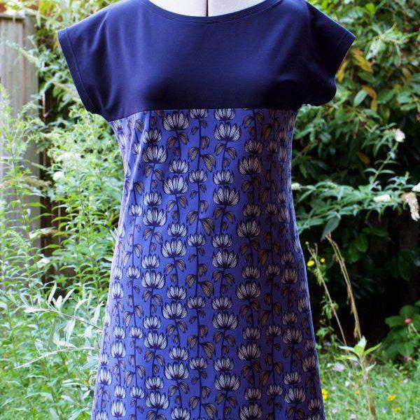 Einfaches Jerseykleid aus Kimono Tee Schnittmuster | Nähtalente