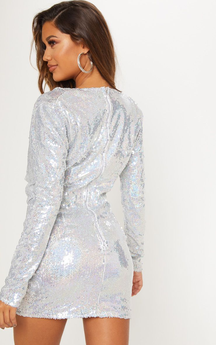 c47dc1506d Silver Sequin Cowl Neck Bodycon Dress