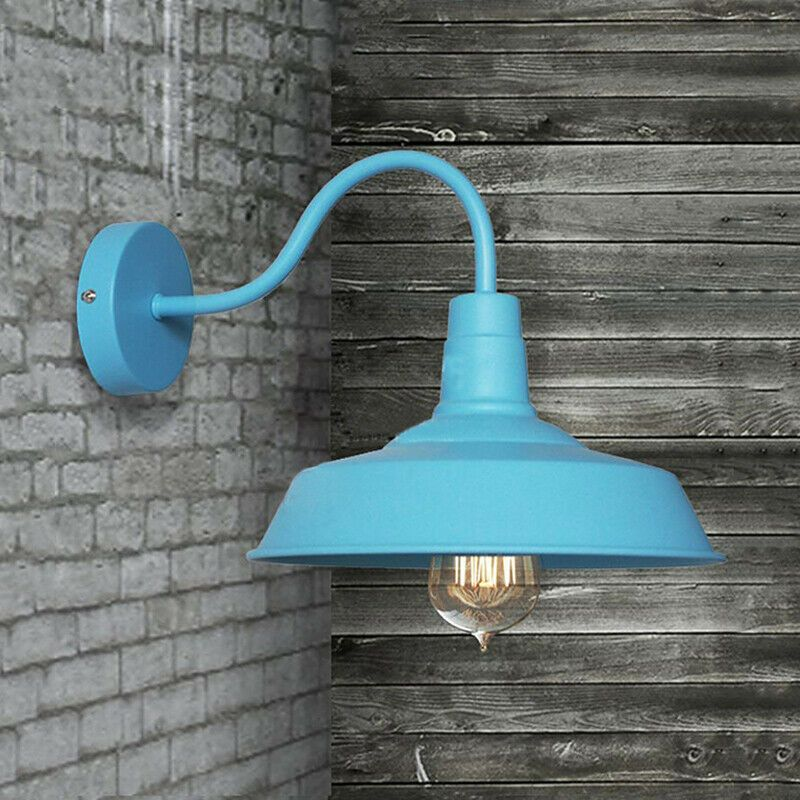 Gooseneck Outdoor Wall Light Fixture Blue Industrial Metal Barn