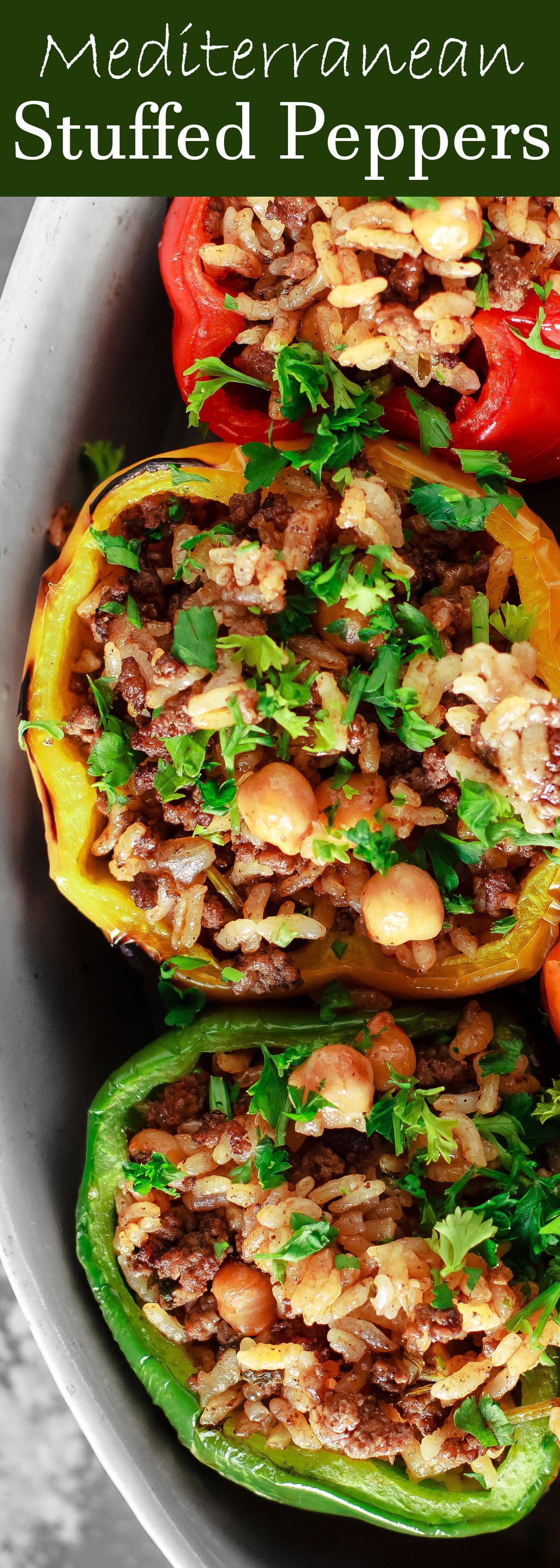 Mediterranean Stuffed Peppers Recipe The Mediterranean Dish Easy Delicious Stuffed Pepper Mediterranean Recipes Peppers Recipes Mediterranean Diet Recipes
