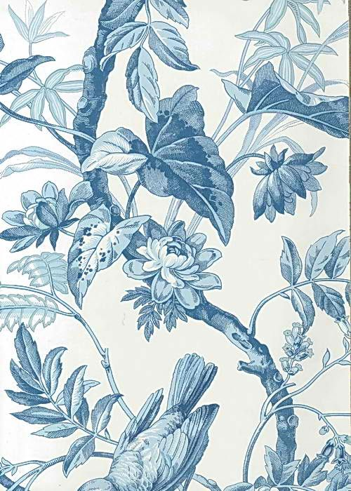 Interior Place White Blue AT4143 Bird Toile Wallpaper