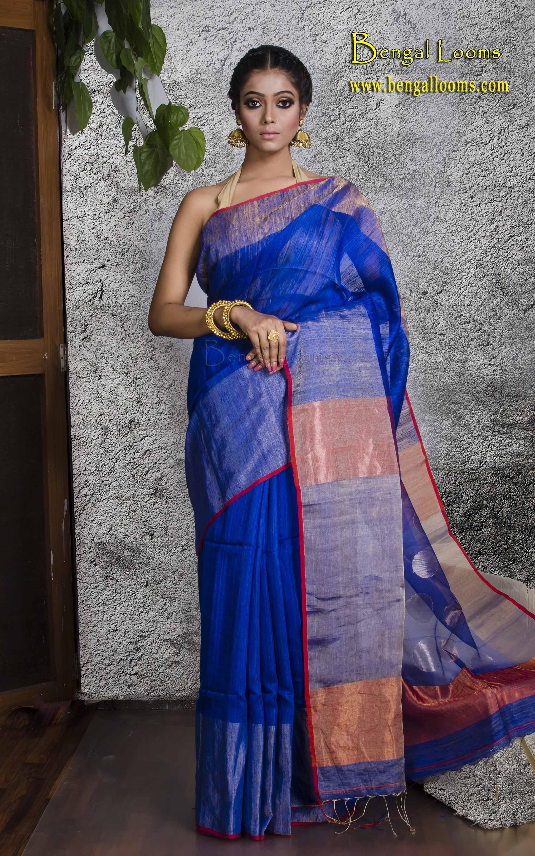 73a4d9bee9 Pure Matka Silk Saree In Royal Blue, Red and Silver   Khadi Sarees ...