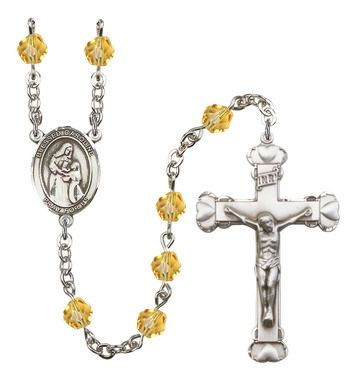Blessed Caroline Gerhardinger Silver-Plated Rosary with 6mm Topaz Fire Polished beads