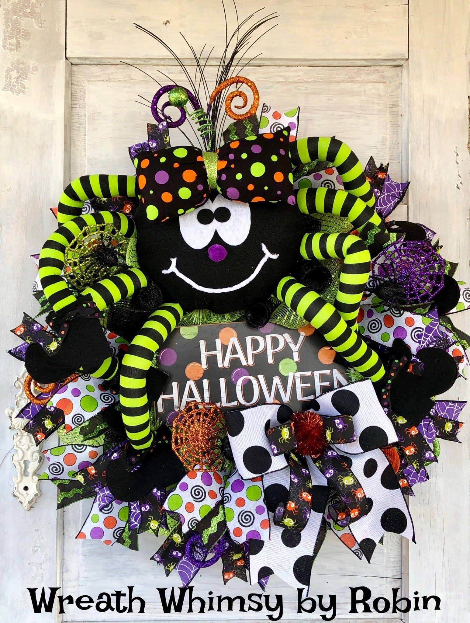 Scary Wreath Halloween Party Decor Spider Wreath Halloween Halloween Wreath Halloween Office Decor Light up wreath Black mesh wreath