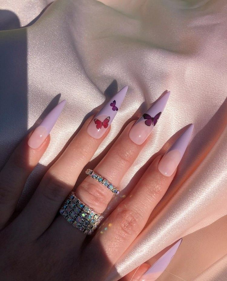 Acrylnagel Sommer 2020 Butterfly Nails Sind Der Letzte Hit In 2020 Purple Acrylic Nails Butterfly Nail Nails Now