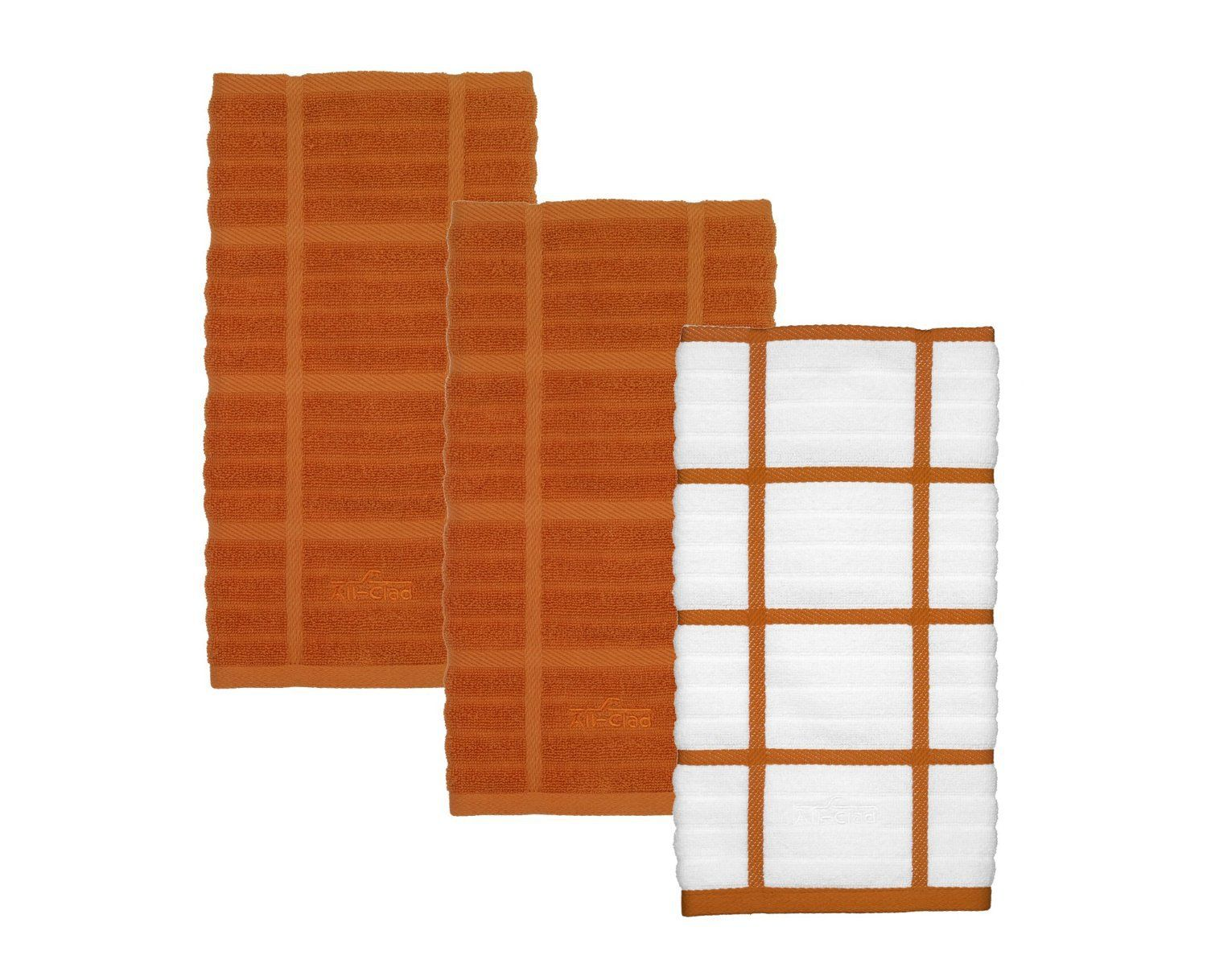 ALL-CLAD 100% Combed Cotton 3 PC Woven Solid & Check Kitchen Towel Set Tangerine $19.99 SHIPPING IS FREE TO YOUR DOOR! AromaCulinary.Com