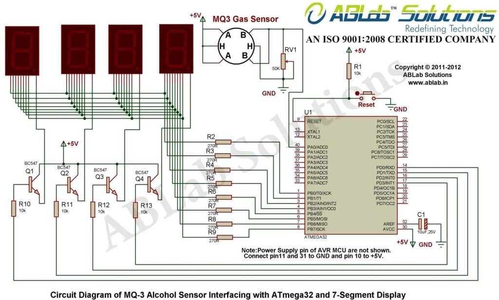 Learn Analog MQ-3 Alcohol Sensor Interfacing with AVR ATmega32