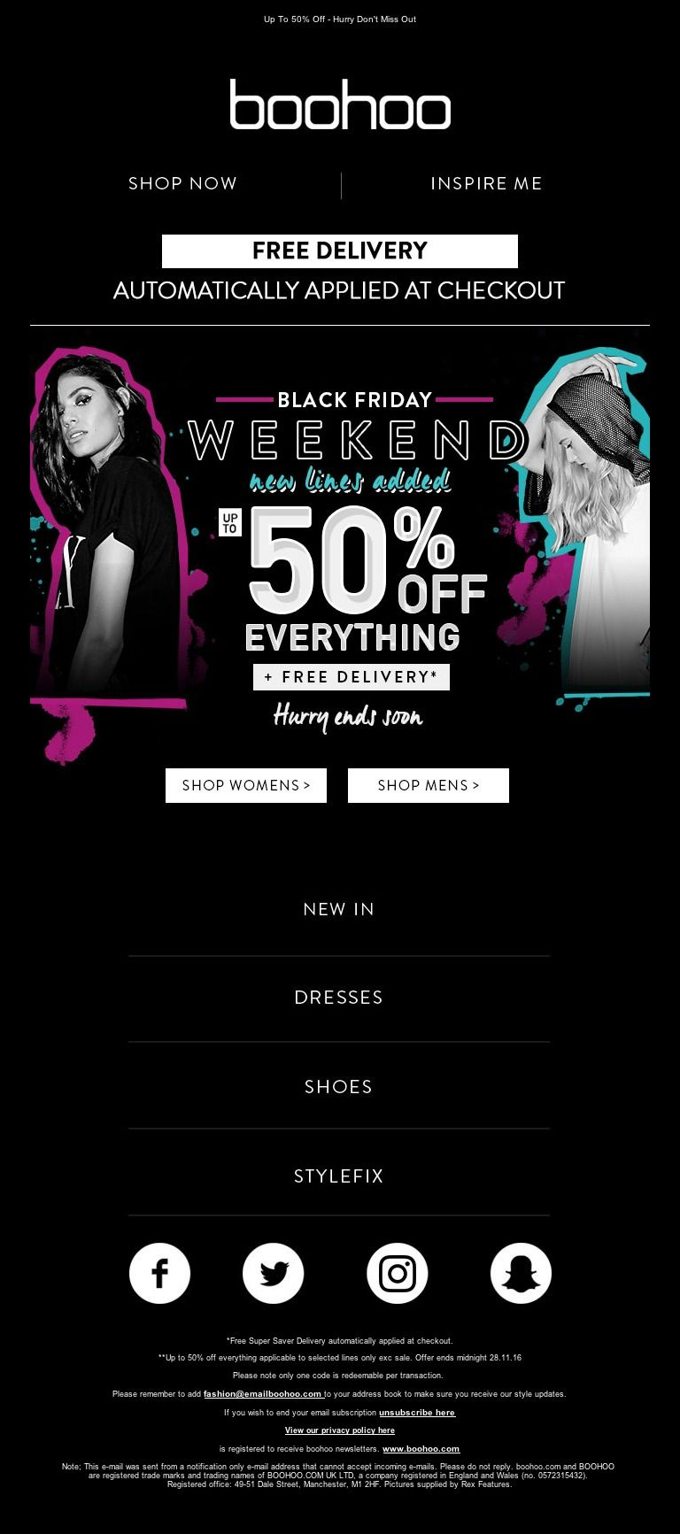 cyber monday deals boohoo