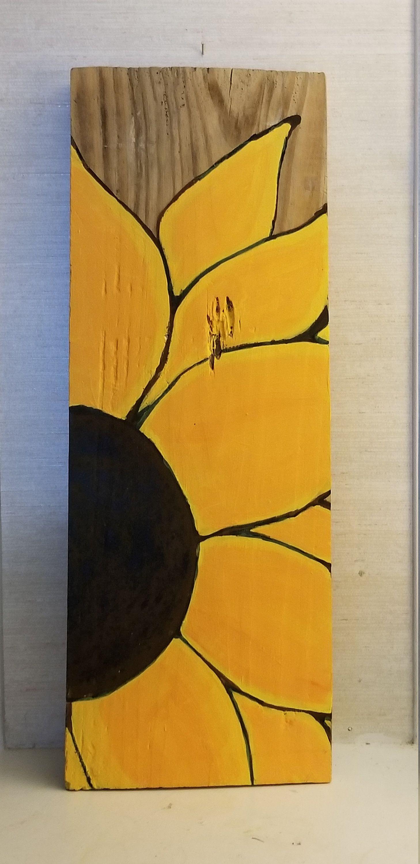 SUNFLOWER Original on Barn Plank. Hand painted,