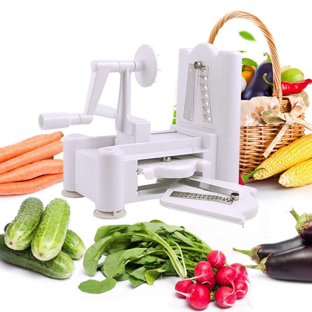Amazon Com Spiralizer 3 Blade Vegetable Slicer Multi Function Hand Operated Zucchini Spaghetti Cucumber Rib Vegetable Slicer Curly Fries Zucchini Spaghetti