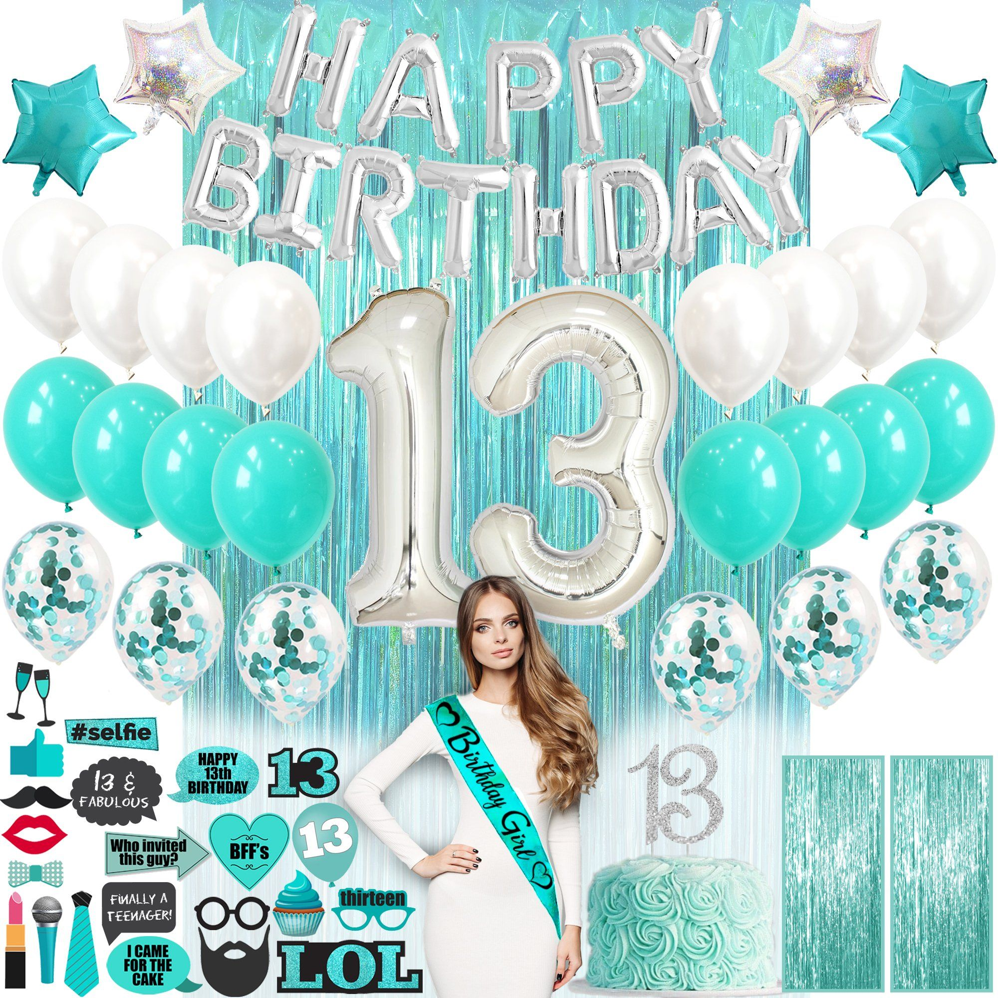 13th Birthday Decorations Teal Green In 2021 Girl Birthday Decorations Birthday Gifts For Teens 16th Birthday Gifts For Girls