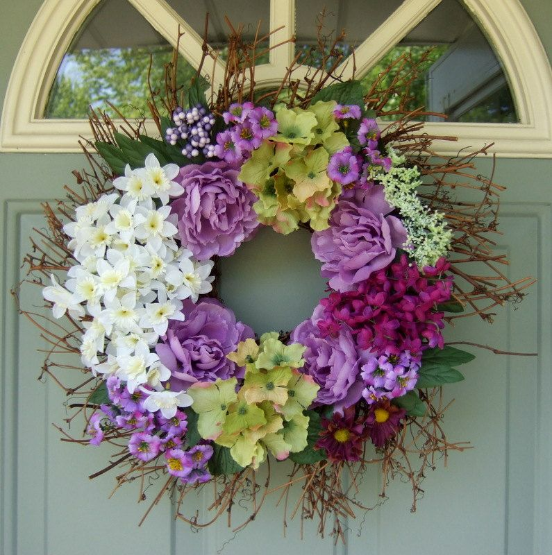 summner door wreaths | Summer Wreath Spring Wreath Floral Door Wreath by countryprim