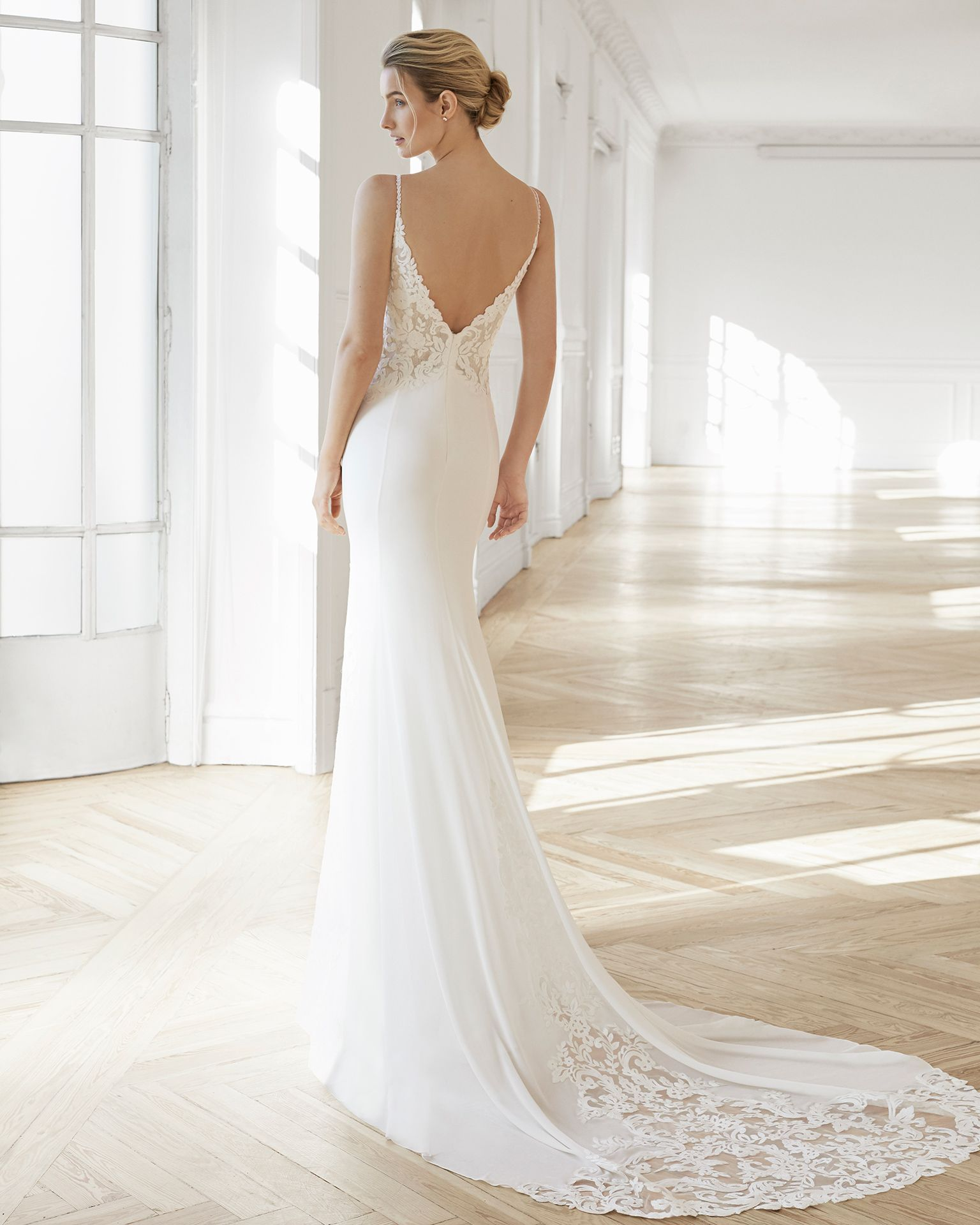 Sheath Style Wedding Dress In Crepe Georgette And Lace V Neckline